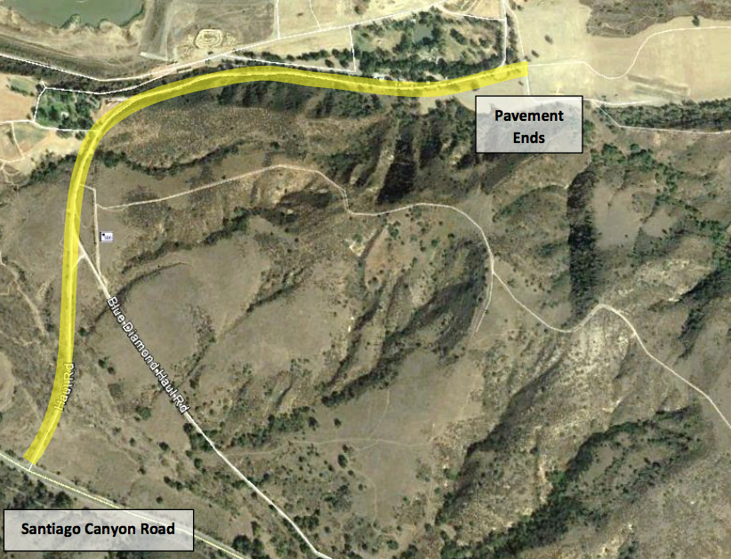 Figure 3 - Highlighted Route from Santiago Canyon